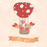 Cartoon balloon with a basket of flowers. Royalty Free Stock Photo