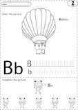 Cartoon balloon and bee. Alphabet tracing worksheet: writing A-Z Stock Image