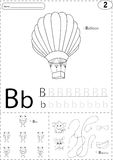 Cartoon balloon, bee and bananas. Alphabet tracing worksheet: wr Royalty Free Stock Photo