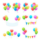 Cartoon balloon set. Vector glossy balloons isolated on white background for party invitations decoration Stock Photos