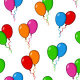 Cartoon Balloons Flying Seamless Pattern Stock Image