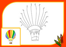 Cartoon ballooon. Connect dots and get image. Educational game f Royalty Free Stock Photography