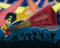 Cartoon banana playing guitar Stock Photos