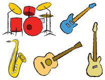 Cartoon Band Instruments Stock Images