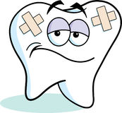 Cartoon bandaged tooth Royalty Free Stock Image