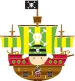 Cartoon Bandana Pirate and Galleon. Adorably Cute Cartoon Bandana Pirate and Ship with Skull and Crossbones Illustration by Mark Murphy Creative vector illustration