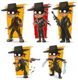 Cartoon bandit in black mask character vector set Stock Photo