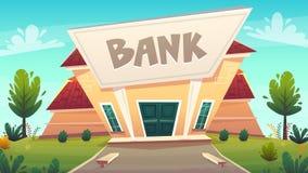 Cartoon bank branch at city street illustration . happy financial business planing .  money of stock exchange finance vector. safe stock illustration