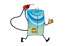 Cartoon bank credit card with gasoline nozzle Royalty Free Stock Images