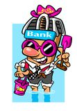 Cartoon banker at seashore. Cartoon caricature of banker wading in water at seashore with beach toys Royalty Free Stock Photography