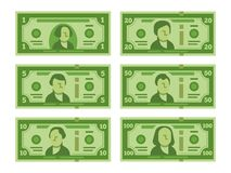 Cartoon banknote. Dollar cash, money banknotes and one hundred dollars bills stylized vector flat illustration royalty free illustration