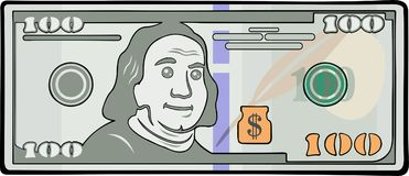 Cartoon banknote with one hundred dollars stock illustration