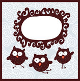 Cartoon banner and cute owls. Stock Image