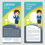 Cartoon Banner with little girl Character. Simple, cute, and funny banner or flyer design Royalty Free Stock Photo
