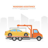 Cartoon banner roadside assistance. City skyline and tow truck with loaded car on the white background. Stock Photos