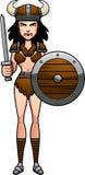 Cartoon Barbarian Battle. A cartoon illustration of a barbarian woman ready for battle Royalty Free Stock Photo