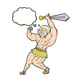 cartoon barbarian hero with thought bubble Royalty Free Stock Photography