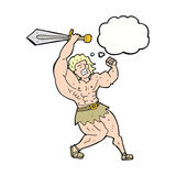 cartoon barbarian hero with thought bubble Stock Image