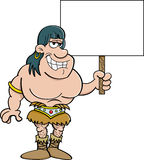 Cartoon barbarian holding a sign. Stock Image
