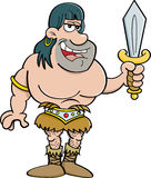 Cartoon barbarian holding a sword. Royalty Free Stock Photos