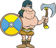 Cartoon barbarian with a shield and an axe. Cartoon illustration of a barbarian holding a shield and an axe Stock Photography
