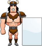 Cartoon Barbarian Sign. A cartoon illustration of a barbarian man with a sign Royalty Free Stock Image