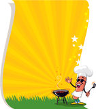 Cartoon Barbecue Hot Dog. Cartoon Cool Barbecue Hot Dog with Grill - Poster Background vector illustration