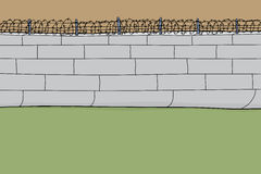 Cartoon Barbed Wire Wall. Hand drawn barbed wire wall cartoon background Stock Image