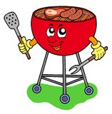 Cartoon barbeque. On white background - vector illustration royalty free illustration