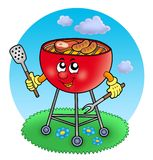 Cartoon barbeque in garden. Color illustration vector illustration