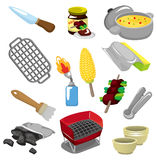 Cartoon barbeque party tool icon. Drawing vector illustration