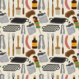 Cartoon barbeque party tool seamless pattern. Drawing royalty free illustration