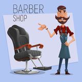 Cartoon barber character and lounge chair for haircuts. Vector illustration. Royalty Free Stock Photos