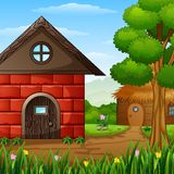 Cartoon barnhouse with a cabin in the farmland Royalty Free Stock Photos