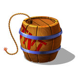 Cartoon barrel of tnt with burning wick for games. Royalty Free Stock Photography