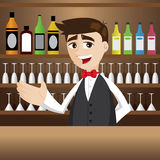 Cartoon bartender at cocktail bar Stock Photos