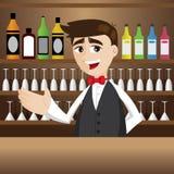 Cartoon bartender at cocktail bar. Illustration of cartoon bartender at cocktail bar Stock Photos