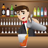 Cartoon bartender pouring cocktail Stock Photos