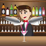 Cartoon bartender pouring cocktail Stock Images