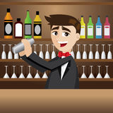 Cartoon bartender with shaker at bar Stock Photography