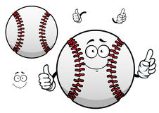 Cartoon baseball ball with thumb up. Happy cartoon white baseball ball character with raised red stitches showing thumb up gesture for sporting mascot or stock illustration