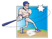 Cartoon Baseball Batter. Batter swinging and striking the ball Stock Photo
