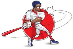 Cartoon Baseball Batter. Batter swinging and striking the ball Royalty Free Stock Image