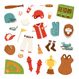 Cartoon baseball icons vector Stock Photo
