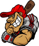 Cartoon Baseball Player Batting Design Stock Photo