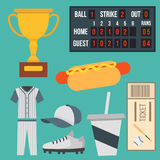 Cartoon baseball player icons batting vector design american game athlete sport league equipment Royalty Free Stock Image