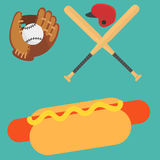 Cartoon baseball player icons batting vector design american game athlete sport league equipment Stock Photography
