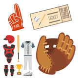 Cartoon baseball player icons batting vector design american game athlete sport league equipment Stock Photo