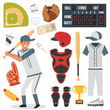 Cartoon baseball player icons batting vector design Royalty Free Stock Photos