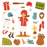 Cartoon baseball player icons batting vector design Stock Photography